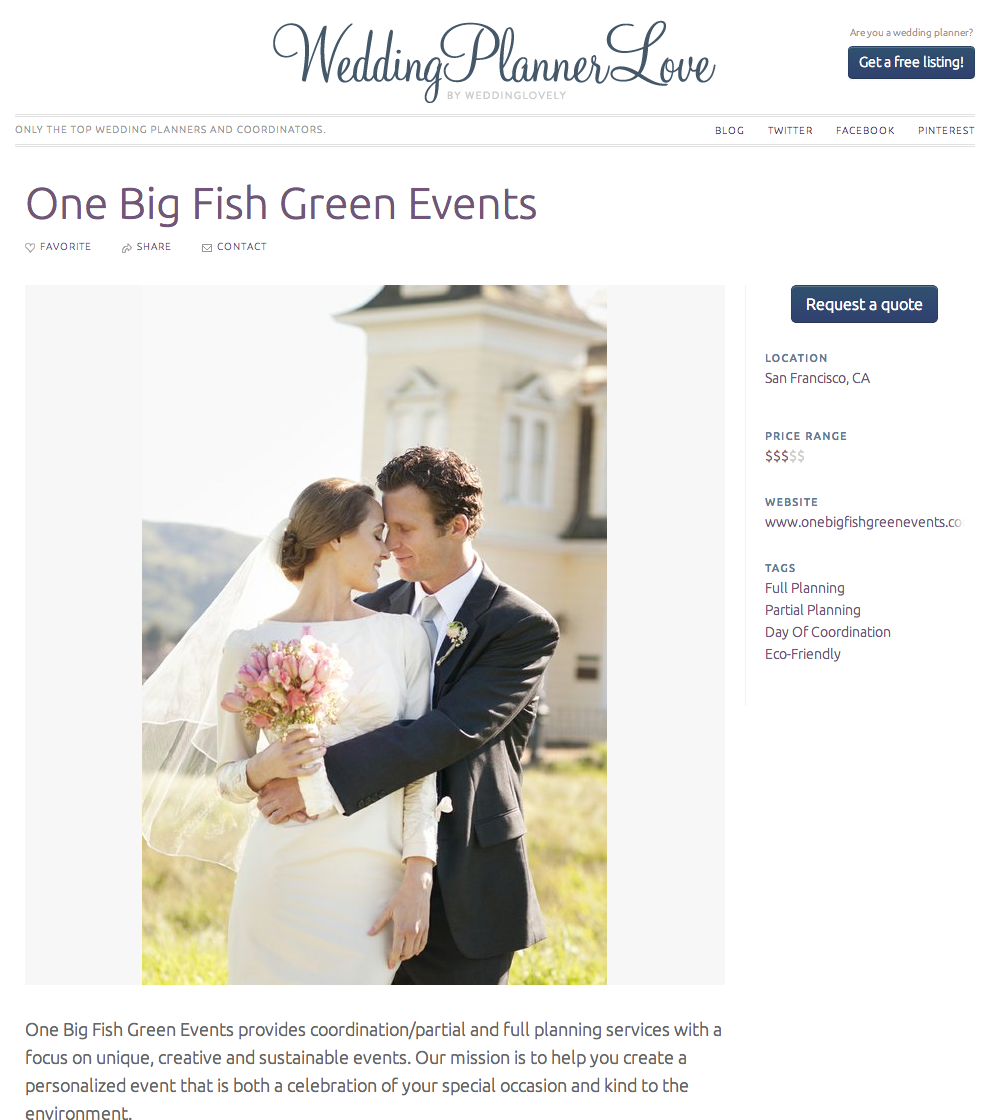 One Big Fish Green Events featured on Wedding Planner Love