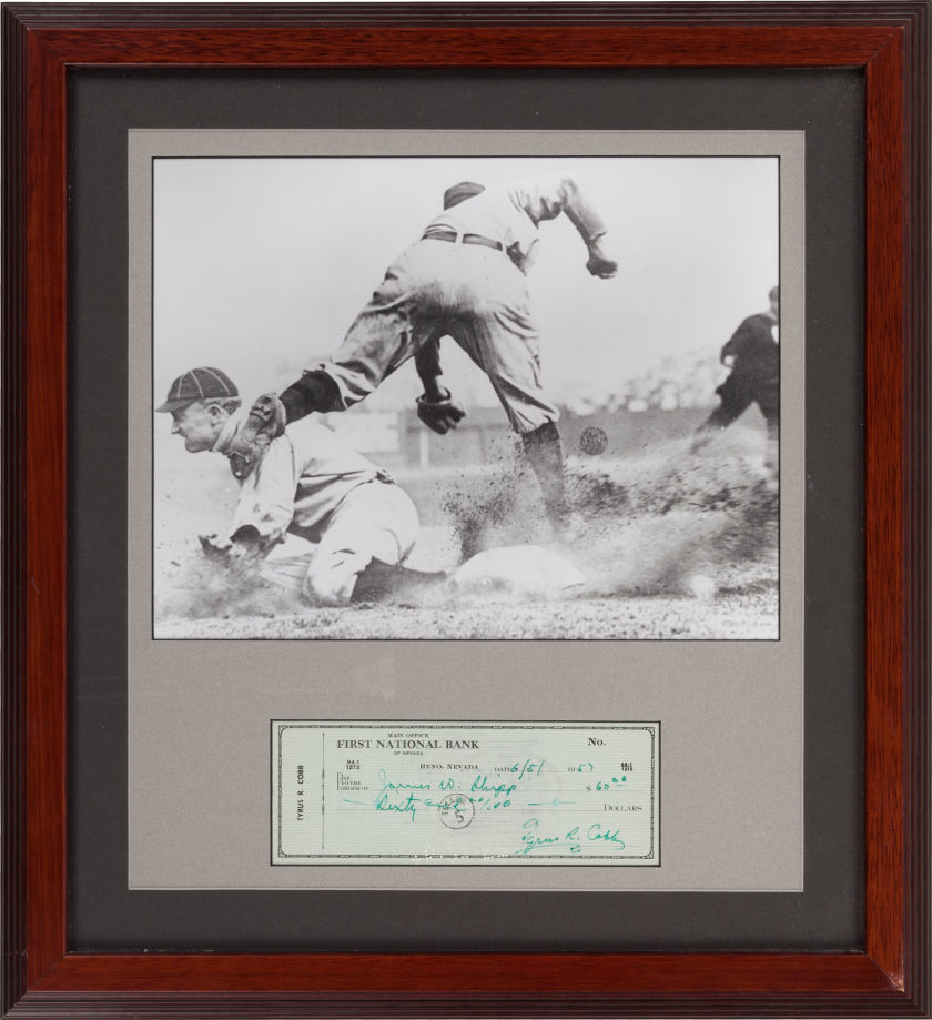 1957 Ty Cobb Signed Check Display.