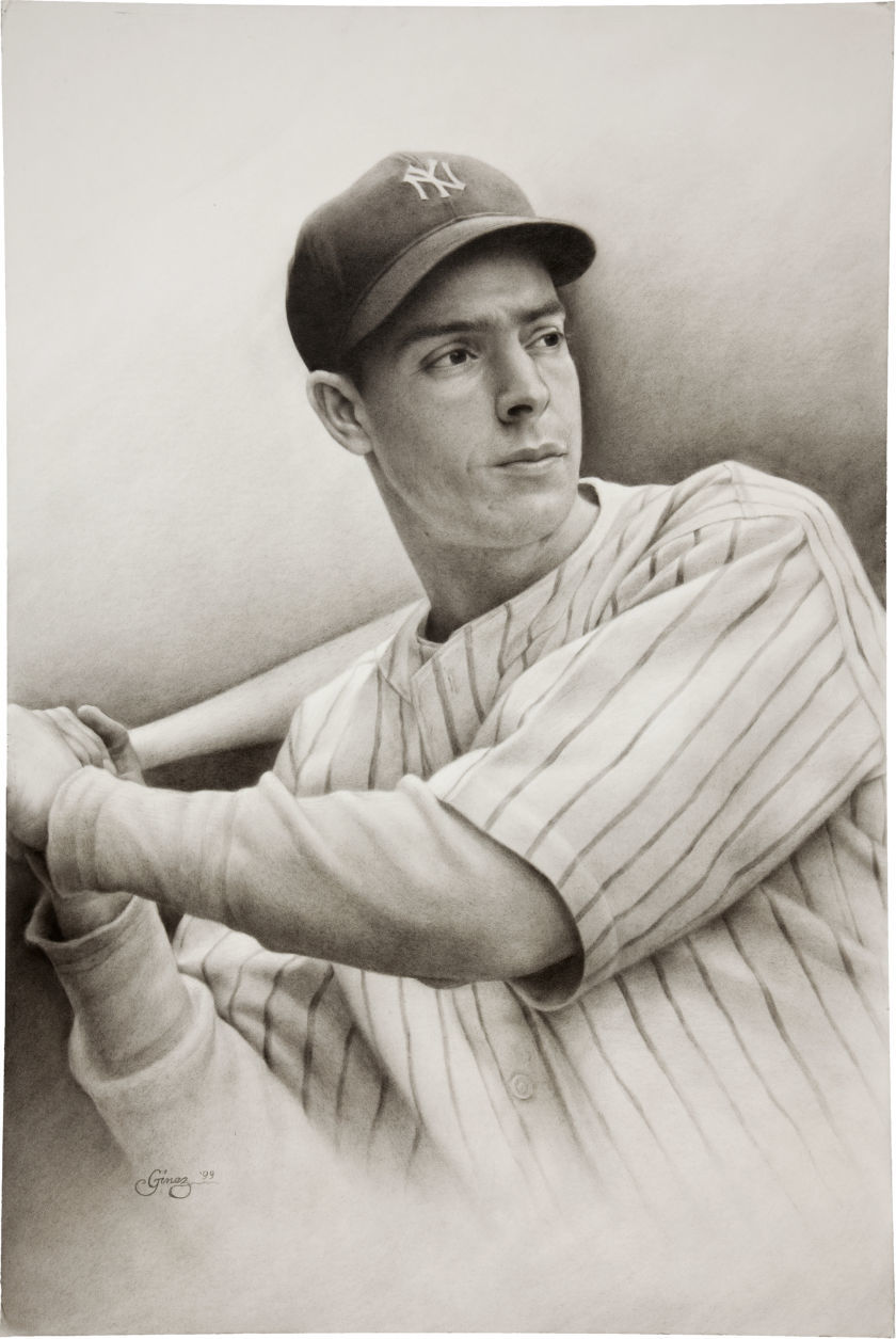 1999 Joe DiMaggio Original Charcoal Drawing By Intoy Ginez.