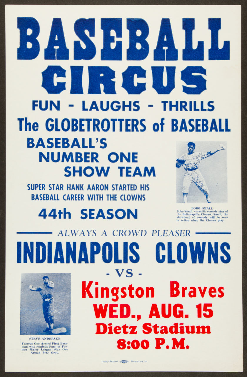 Circa 1950's Baseball Circus The Globetrotters Of Baseball and Indianapolis Clowns Negro Leagues Promotional Broadside.