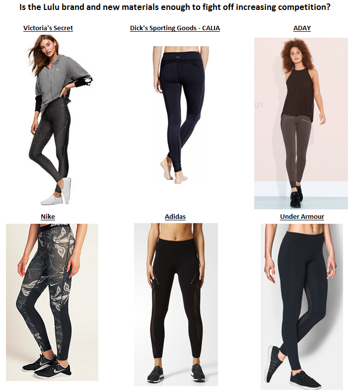 Source: Victoria's Secret, Dick's Sporting Goods, ADAY, Nike, Adidas, Under Armour
