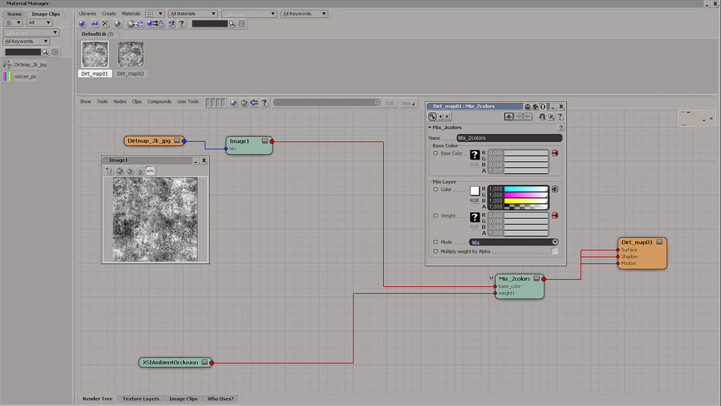 Render tree en Softimage mostrando como preparar el shader.