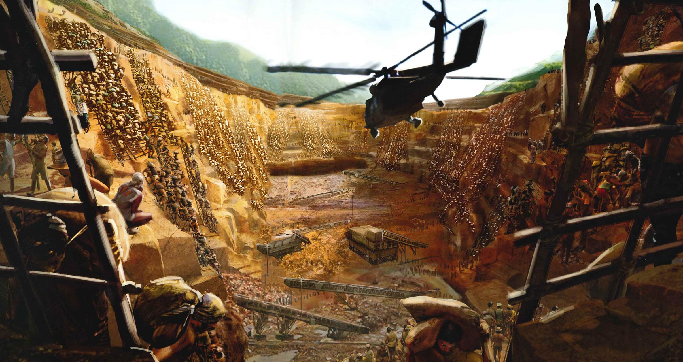 Concept art de la excavación, plano medio.