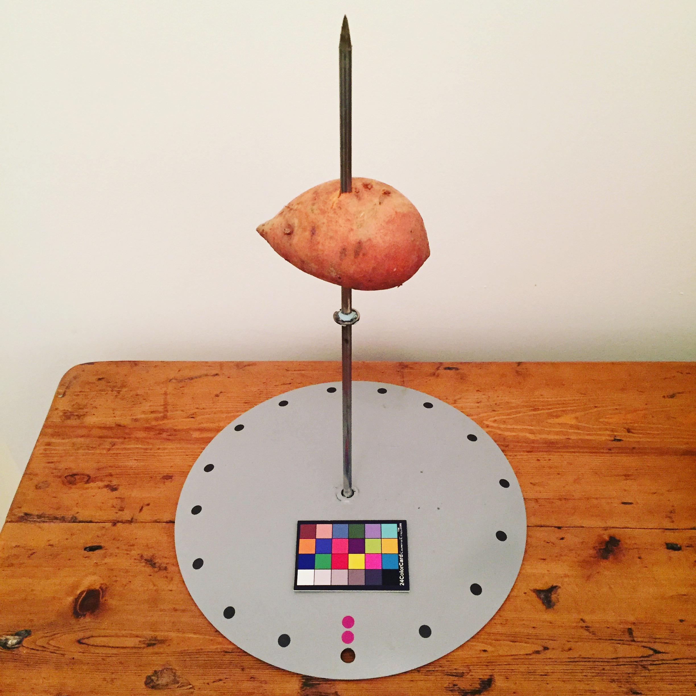 La plataforma sujetando un sweet potato.