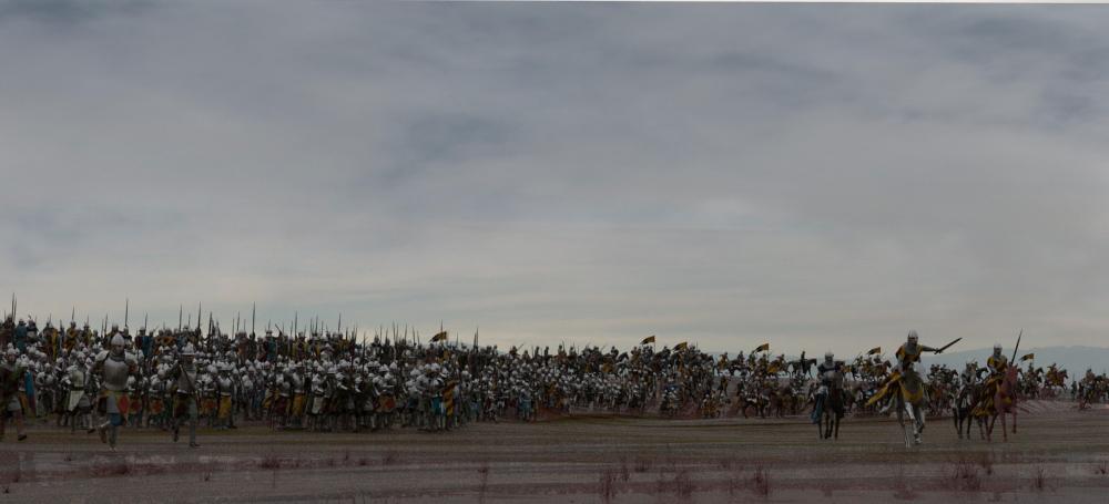 Personajes crowd en el plano.