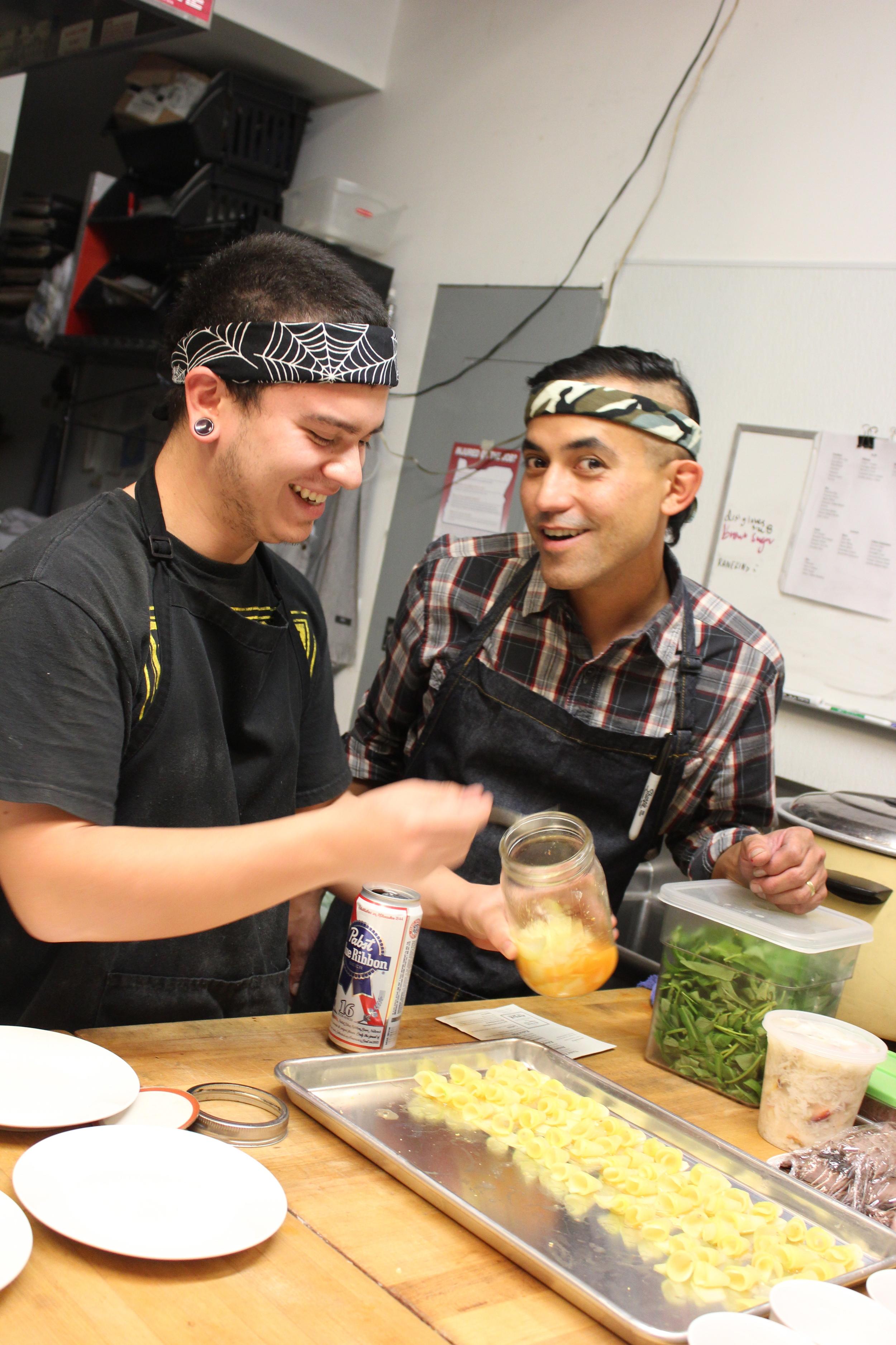 Tony and Ed prepping pickled papaya