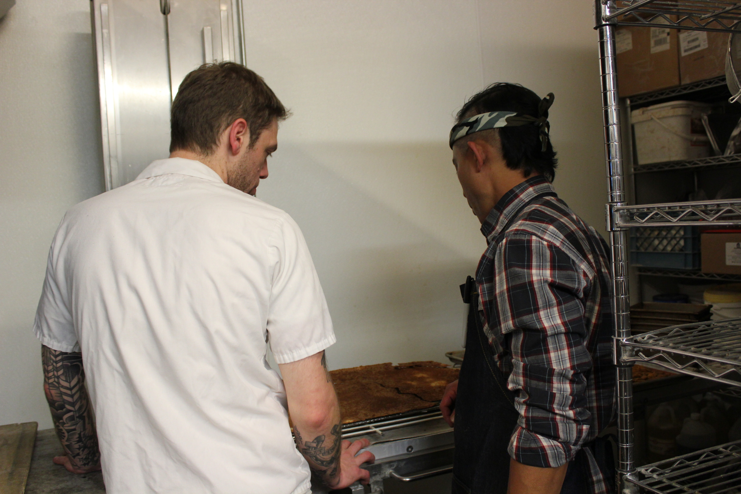 Dillon and Ed checking on the breads