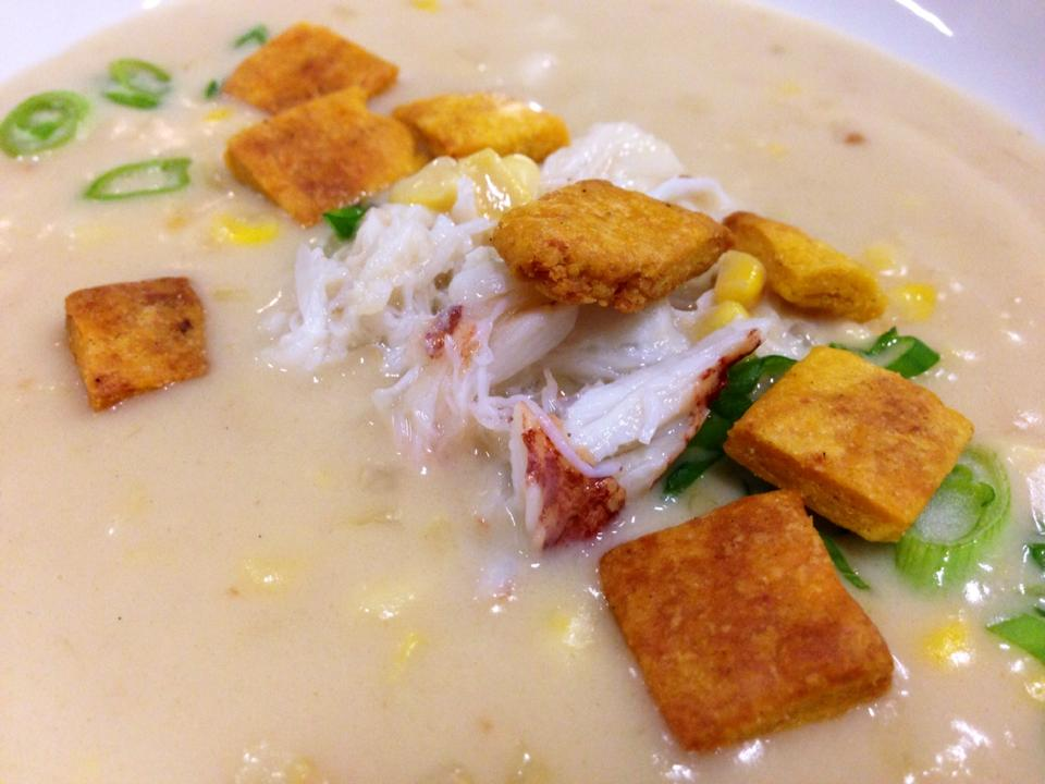 Second Course: Atulen Elotes yan Panglao - Chamorro corn soup with Oregon Dungeness crab, achote oyster crackers