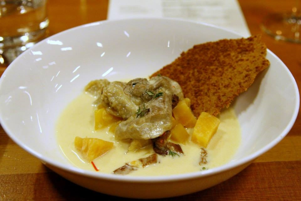 Fourth Course: Linechen Gollai - grilled eggplant with roasted Groundwork Organics vegetables (sweet potato, golden beets, chanterelle mushrooms) in a spicy, citrus coconut milk, coconut cracker bread