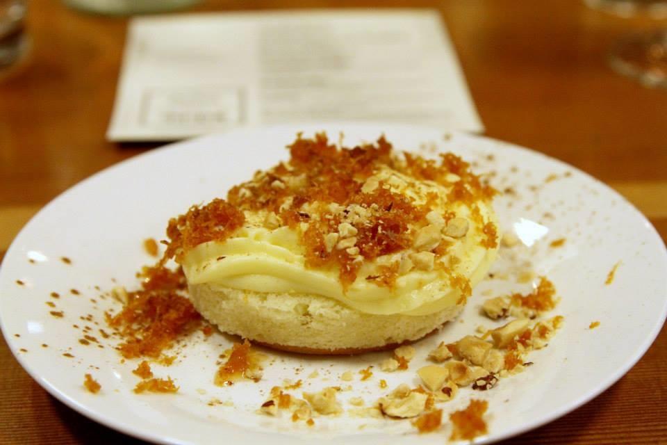 Sixth Course: Latiya - chiffon cake, vanilla custard, coconut candy, hazelnuts