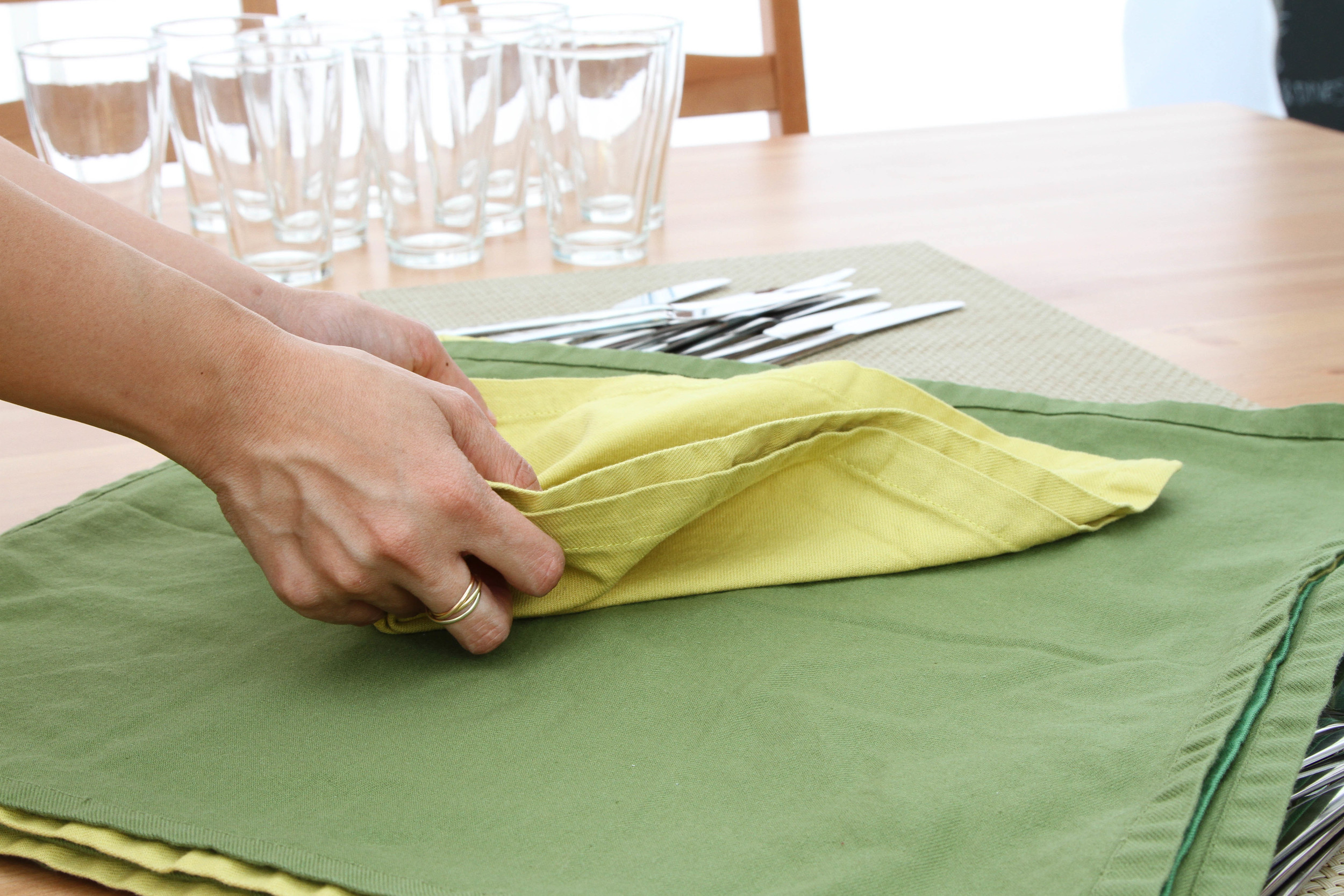 Getting the napkins ready