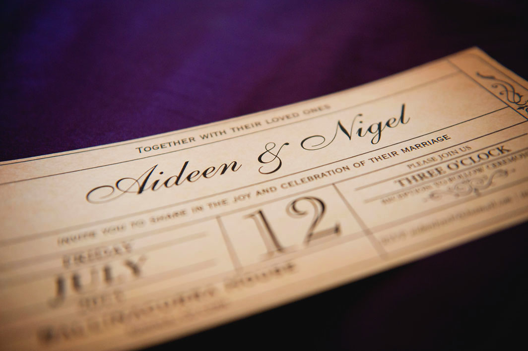 The invitations were a vintage ticket theme ordered through zazzle