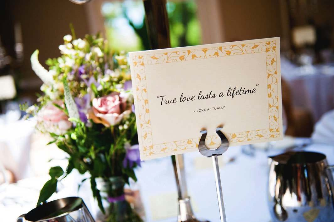 Our table plan, ceremony booklets and table names were designed and printed locally by Elasnik in Kinsale.