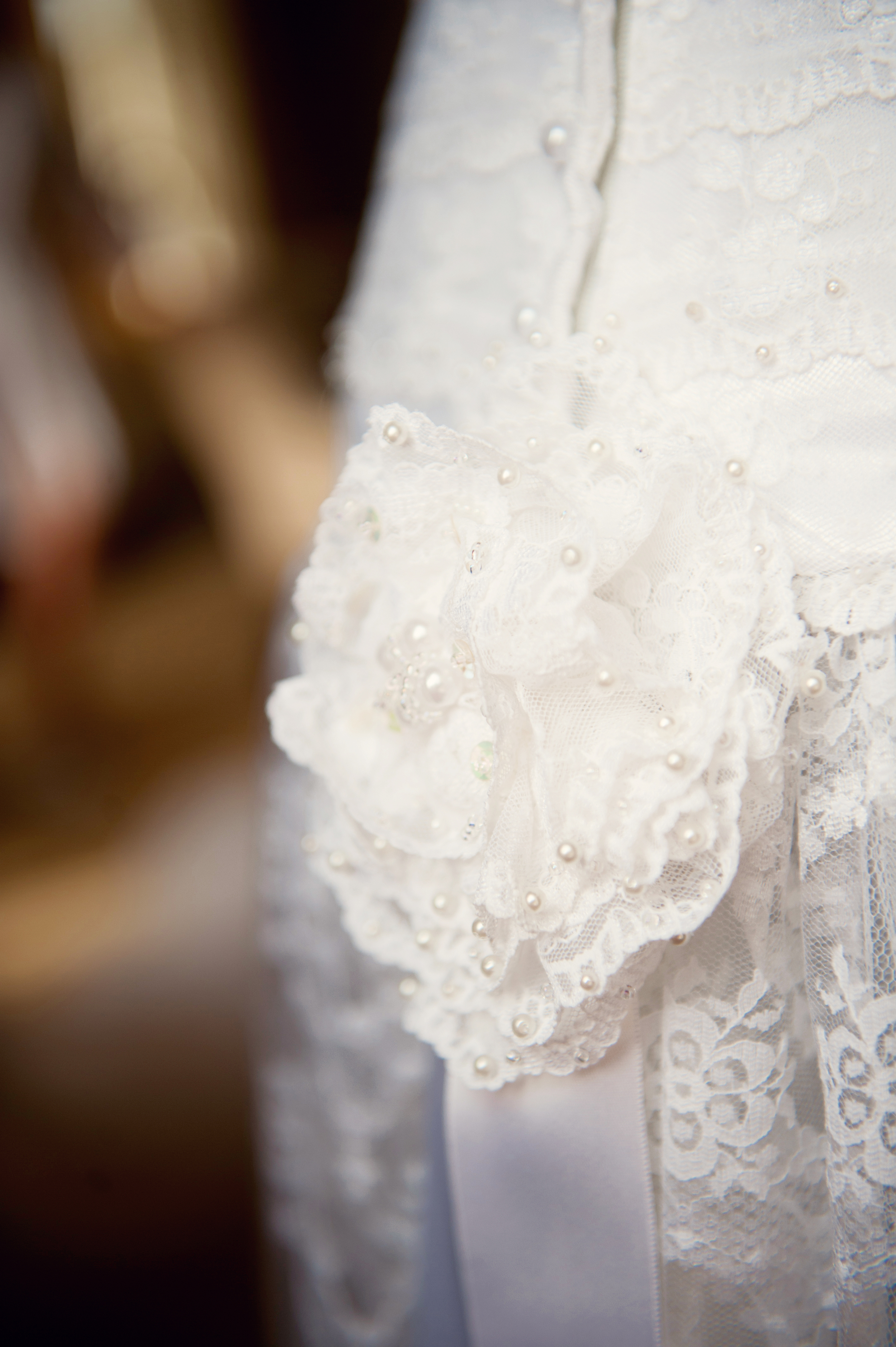 Vintage dress from Bella Bleu, Cork. T  op / corset was crafted by Nell McCarthy, Cormac's grandmother. -Photography:Weddings by KARA  © - Wedding Location: Kilshane House, Tipperary, Ireland