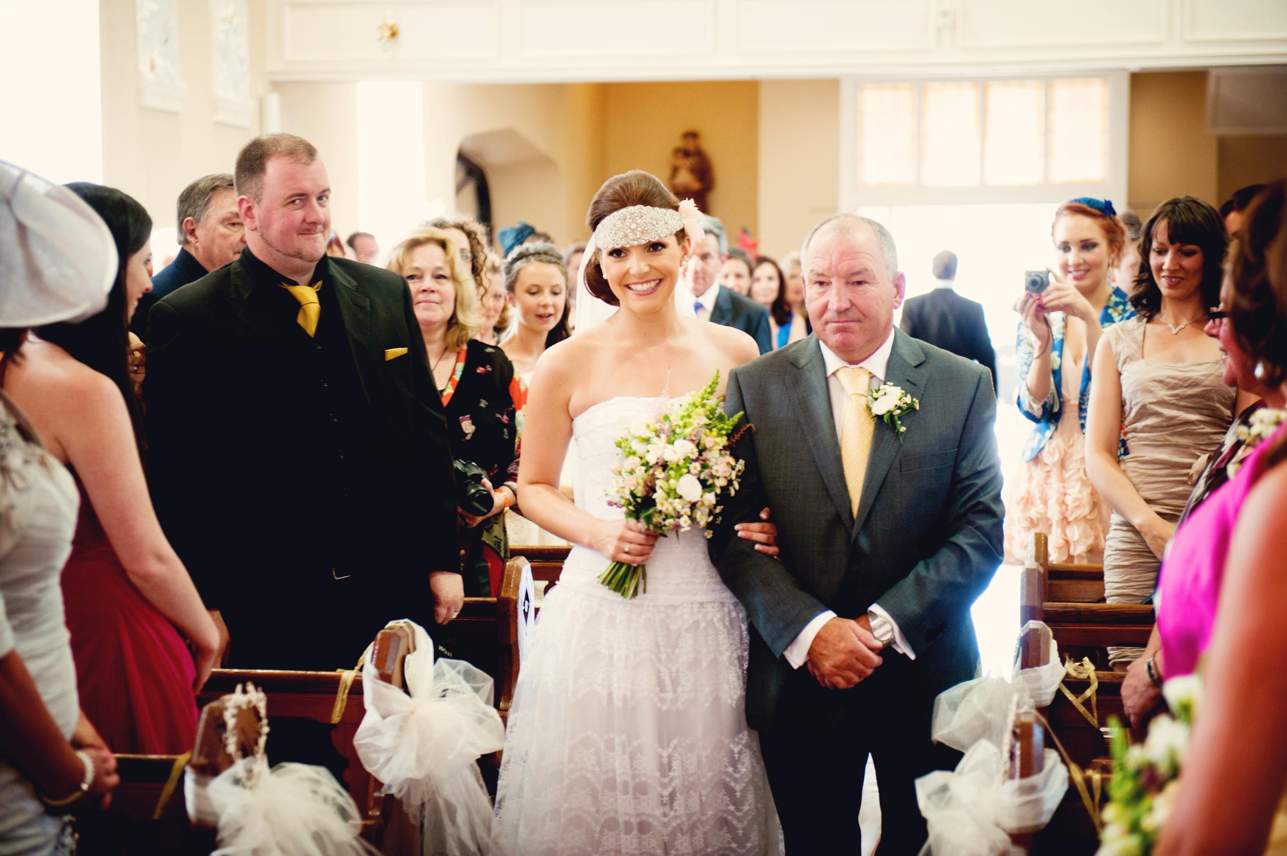 Ciara walking up the aisle with her Father. Photography:Weddings by KARA © - Wedding Location: Kilshane House, Tipperary, Ireland