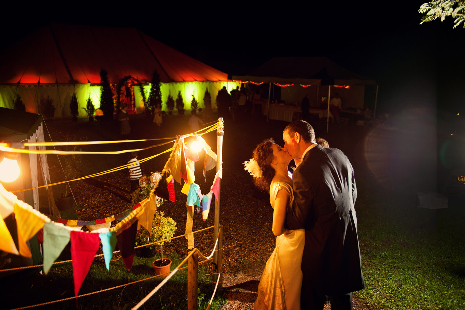 bride and groom marquee wedding dublin ireland night fairy lights bunting