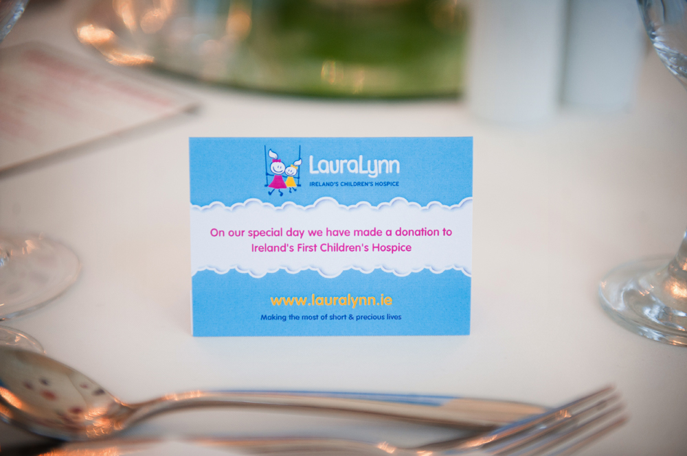 We made a donation to LauraLynn instead of giving out favours! LauraLynn is a charity that my Nana had greatly supported so it was my little way of including her in our day. Our table place cards were also individually labelled flags stuck in teacakes so people didn't go without!