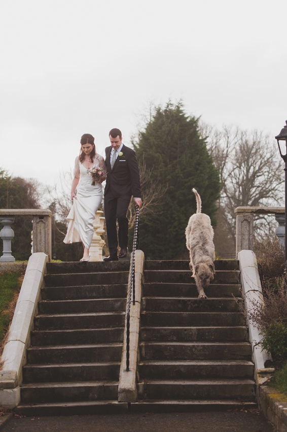 Couple walking down steps in Bellingham Castle Gardens Louth with Irish Wolfhound