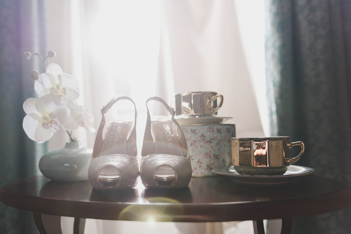 Wedding morning accessories, shoes.