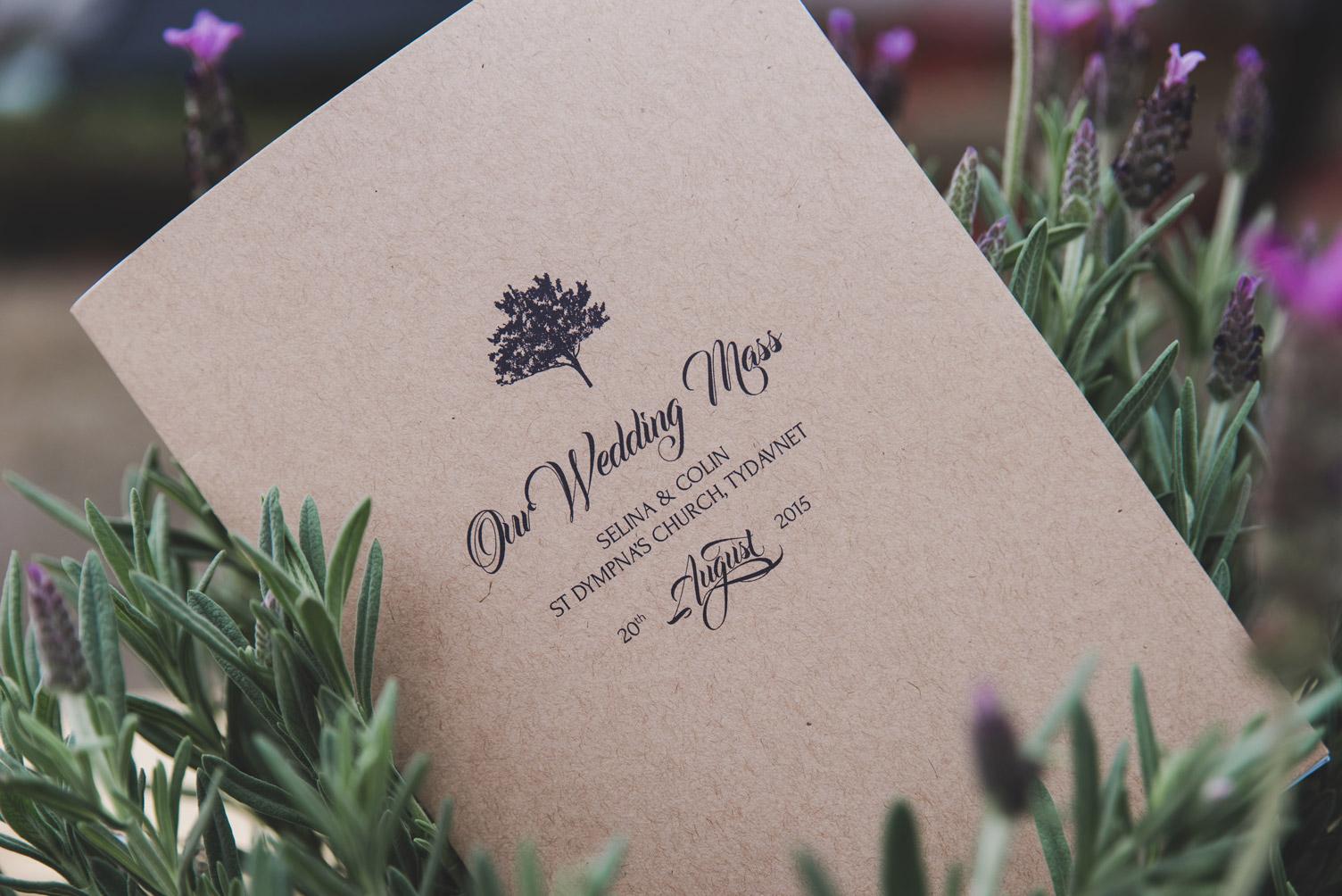 Wedding morning flowers and Church booklett