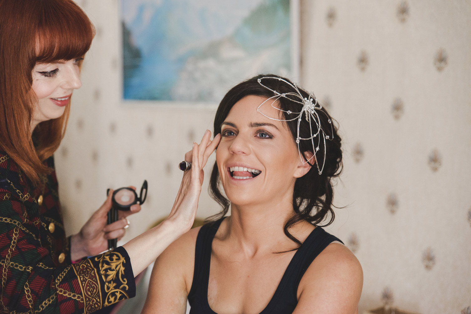 Bride getting make up done on the morning of her wedding. Wedding photography meath ireland.
