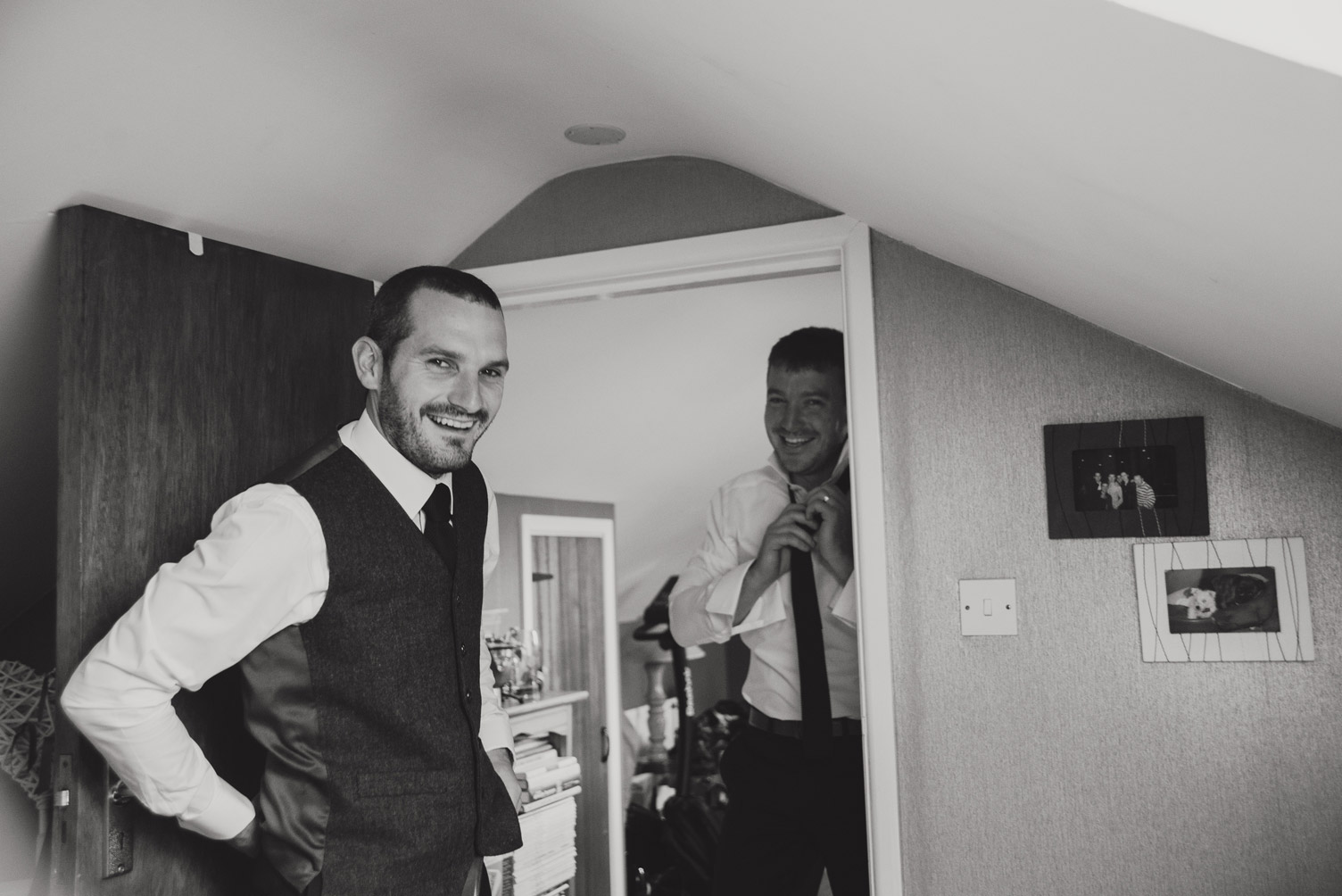 Groom getting ready on the morning of the wedding. Wedding photography meath.