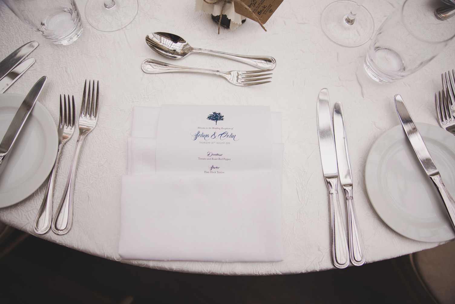 Cutlery and menu at Tankardstown House Meath Wedding photographers meath ireland