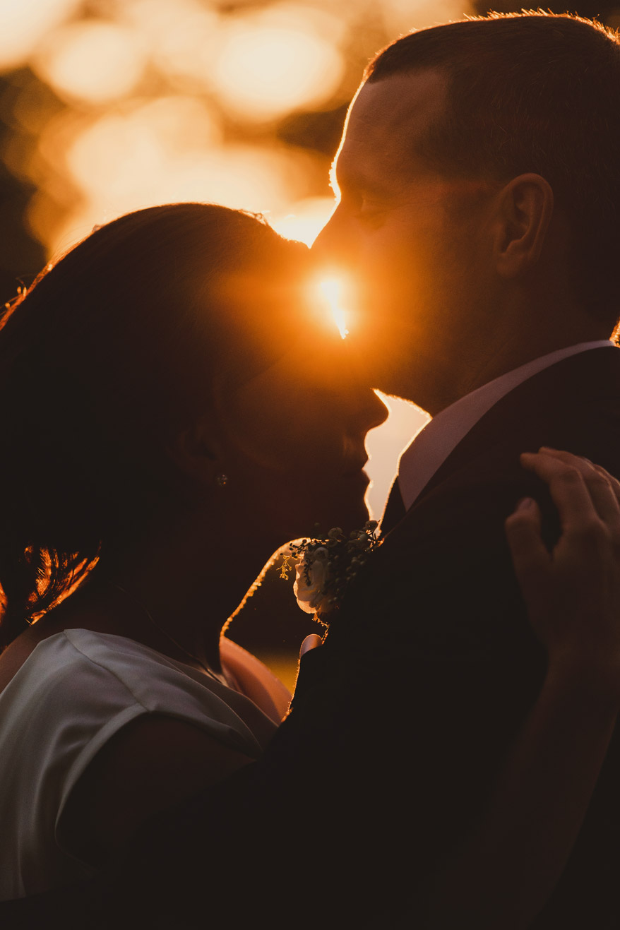 Bride and groom in sunset at Tankardstown House Meath Wedding photographers meath ireland