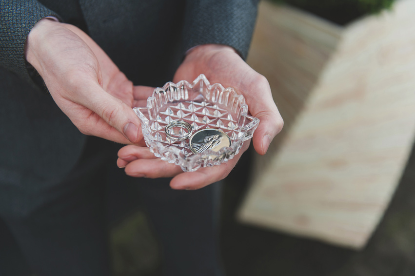 Wedding rings in church