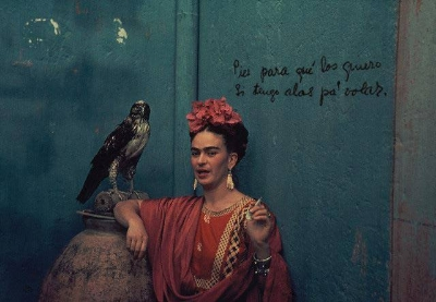 Frida with pet hawk 1940's