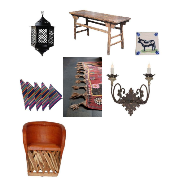 Vintage Iron Pendant Light: $69  Hunters Alley,  Cantwell Table: $849  One Kings Lane , Hand Painted Bull Tile: $30  Hunters Alley , Fiesta Cloth Napkins: $19  Hunters Alley , Kilim Rug:  le souk,  Adian Gray Wall Sconce: $338  Layla Grayce , Equipale Leather Chair: $185  Amazon