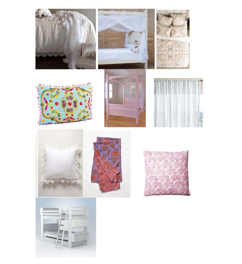 Bella Notte bed linen: $273-$387  Layla Grayce , Bradshaw canopy bed: $2,799-$3,399  Layla Grayce ,  Anada Bedding: $28-$318  Anthropologie , Botanical pillow: $39  One Kings Lane , Bradshaw canopy bed: $2,799-$3,399  Layla Grayce , French tassel curtains: $58-$98  Serena and Lily , Enna Eruo Sham:  Anthropologie , White peacock headboard: $269   Anthropologie , Elephant pillow: $109  One Kings Lane , Ducduc bunk bed: $2,475-$4,795  Layla Grayce