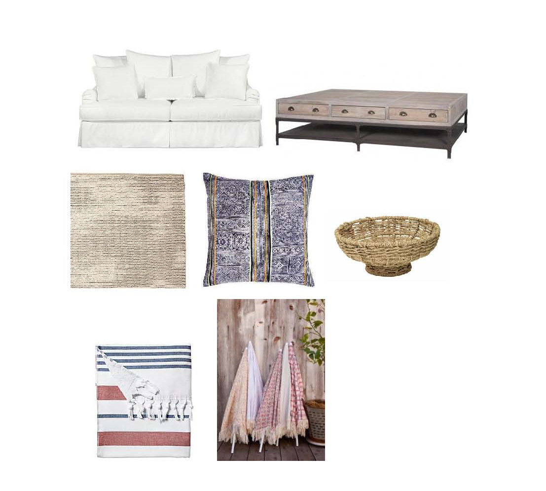 Zurie sofa: $1,540-$3,248  Layla Grayce , Eden Rock Table: $1,995  Calypso ,Rope Rug: $195-$1,195  Serena and Lily , Vintage hill tribe batik pillow: $335  Calypso , Jute Bowl: $59  One Kings Lane , Beach Towel: $48  Serena and Lily ,  Kerri Cassill beach umbrellas