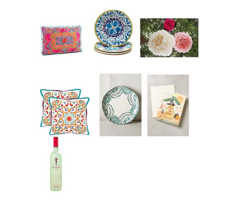 Botanical pillow:   One Kings Lane , Indigo plate:  One Kings Lane , Flower Pinatas:  Design Dazzle , Calycopis pillow:  One Kings Lane , Gloriosa plate:  Anthropologie , Birthday Card:  Anthropologie ,  Skinny girl margarita