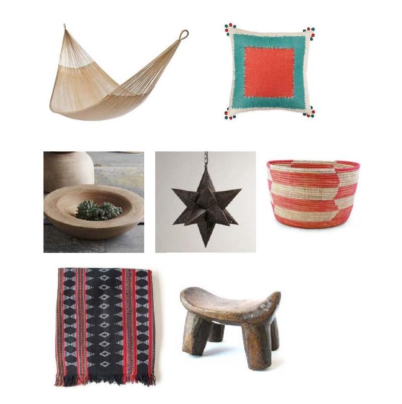 Double Hammock:  One Kings Lane , Square Pillow:  One Kings Lane , Mahogany Bowl:  The Loaded Trunk , Star Lantern:  World Market , Senegalese Knitting Basket:  Mille , Beaded Zeng Cloth:  The Loaded Trunk , Lobi Stool:  The Loaded Trunk