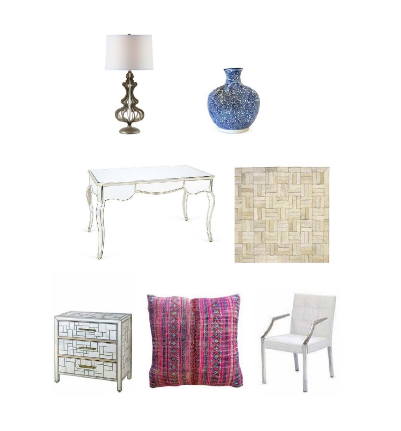 Aidan Gray table lamp:  Layla Grayce ,  Blue and white vessel:  One Kings Lane , Ella mirror desk:  One Kings Lane , Natural hide rug:  Serena and Lily , Piet chest:  Calypso,    Sky pillow:  Amber Interior Design , Paris arm chair:  All Modern