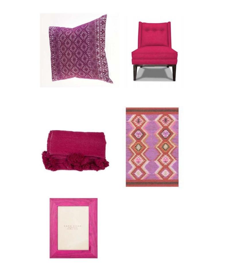 Maggie Galton Pillow:  JM Dry Goods , Morrow Slipper Chair:  Jonathan Adler , PomPom Blanket:  Loaded Trunk , Dash and Albert Rug:  Layla Grace , Wood Frame:  Zara Home