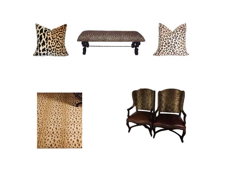 Leopard Velvet Pillow , Hollywood Regency Wrought Iron Bench ,  Leopard Linen Pillow , Jaguar Light Rug , Ralph Lauren Leopard Spencer Chairs