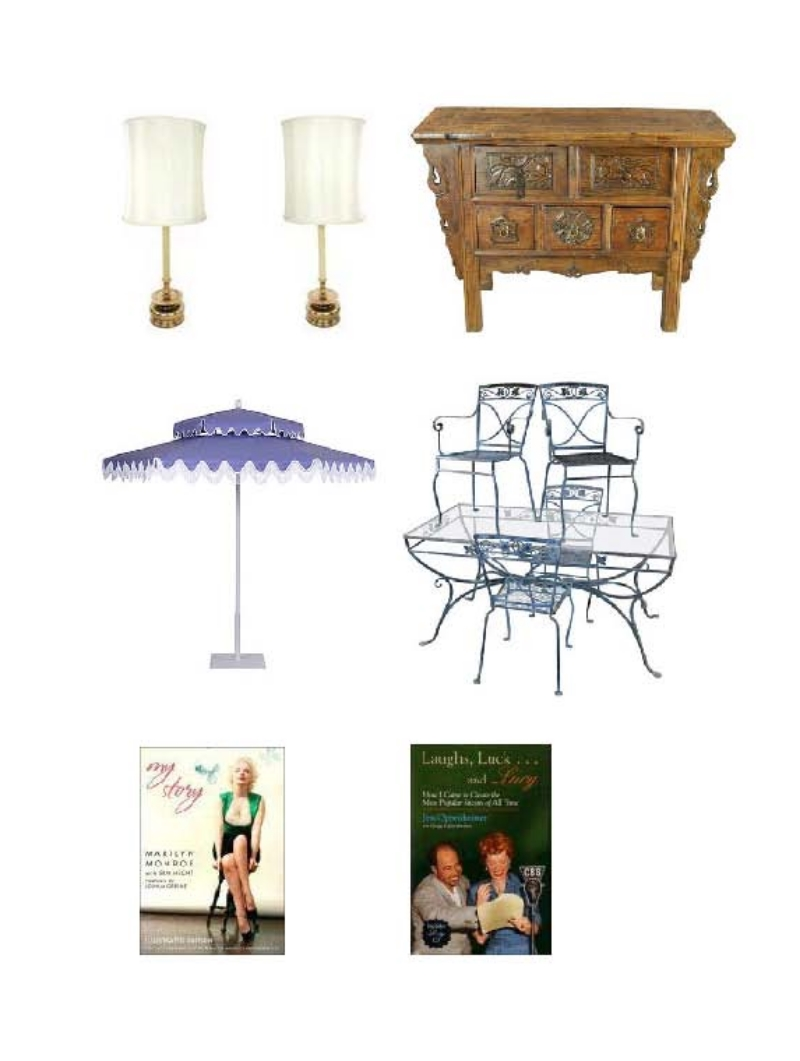 Chapman Lamps :   Antique Chinese Hall Table Chest Drawers ,  Double Decker Umbrella ,   Vintage Wrought Iron Garden Dining Set by Salterini,    My Story by Marilyn Monroe and Ben Hecht ,   Laughs, Luck...and Lucy   by Jess and Gregg Oppenheimer