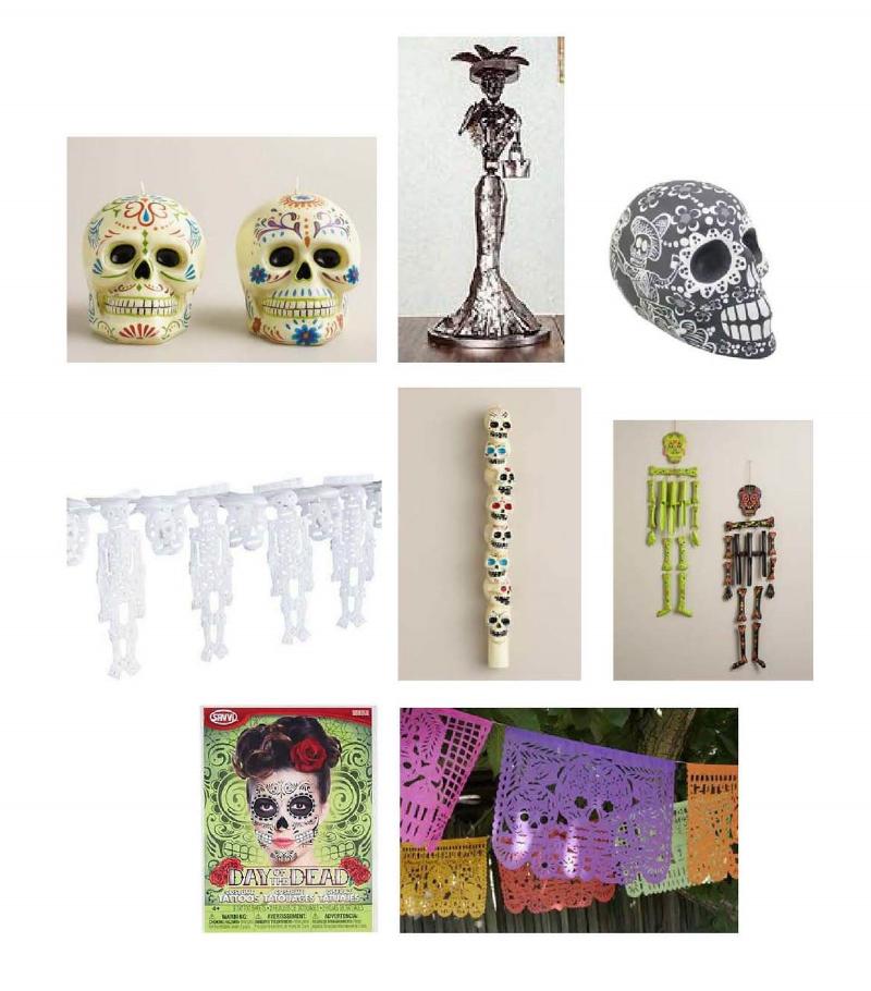 Los Muertos Candels ,  Rustic Catrina II Sculpture ,  Mexican Hand-painted Day of the Dead Skull ,  Skeletal Pipel Picado ,  Los Muertos Skull Taper Candel ,  Wooden Skeleton Wind Chimes ,  Day of the Dead Face Tattoos ,  Dia de los Muertos Pipel Picado