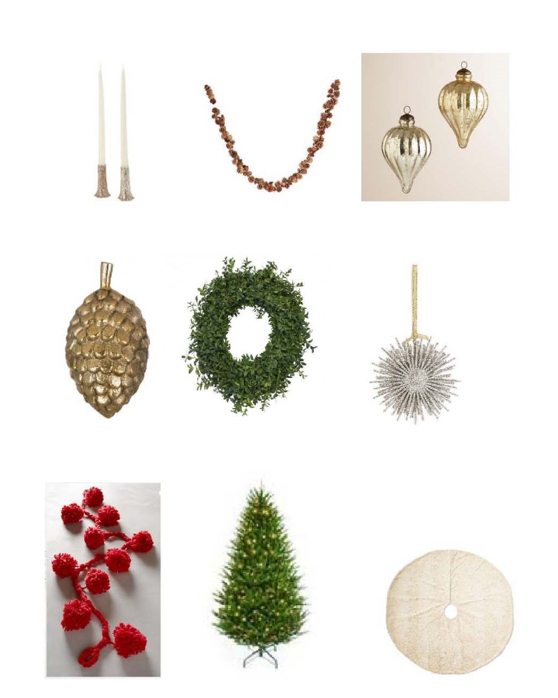 "Cathy Waterman Wishing Tree Candlesticks ,    Aspen Pinecone Garland ,    Silver and Gold Teardrop Mercury Glass Ornaments ,  Bronze Pinecone ,    Holiday Starburst Ornament ,  Snowball Garland ,    76"" Pre-Lit Boston Spruce Tree, Faux ,  Zerbra Duotone Faux Tree Skirt"