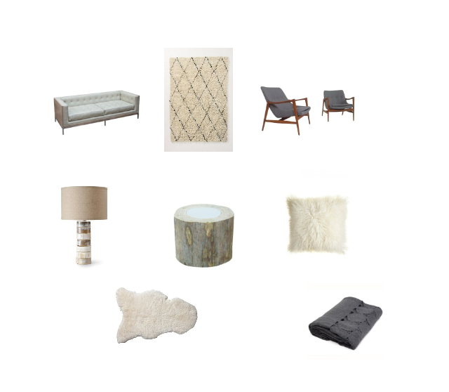 Oly Studio Arden Sofa : Layla Grayce,  Amala Flokati Rug : Anthropologie,  Chenille Chairs : Charish,  Stacked Horn Table Lamp : Pendleton,  Foret Coffee Table : Calypso,  Tibetan Pillow : Calypso,  Sheep Skin throw : Serena Lily,  Sefte Paya Throw : Layla Grayce