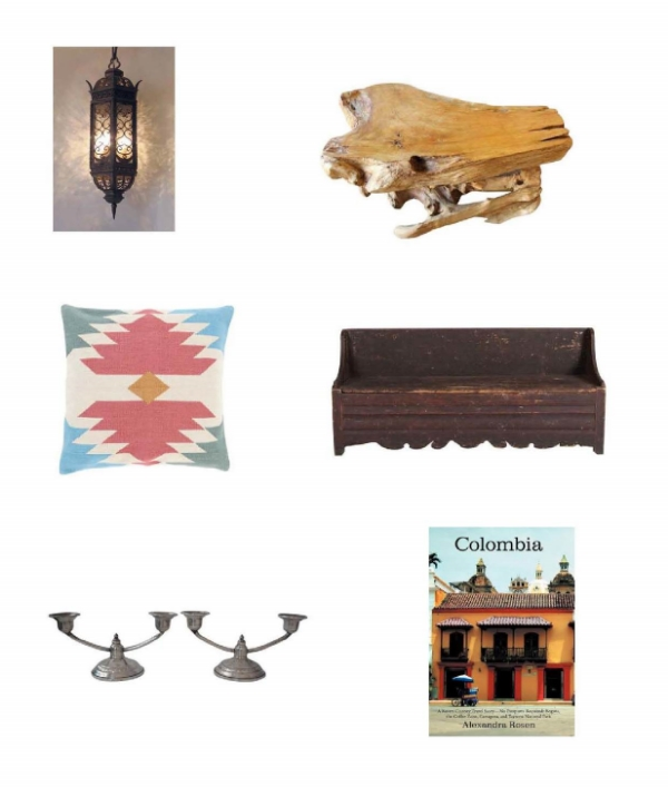 Aviva Pendan t: Steven Handleman Studios,  Solid Teak Wood Table : Chairish.  Kilim Pillow : One Kings Lane,  Primitive Swedish Bench : Chairish,  Sterling Colombia Candelabras : One Kings Lane,  Colombia : Barnes and Noble