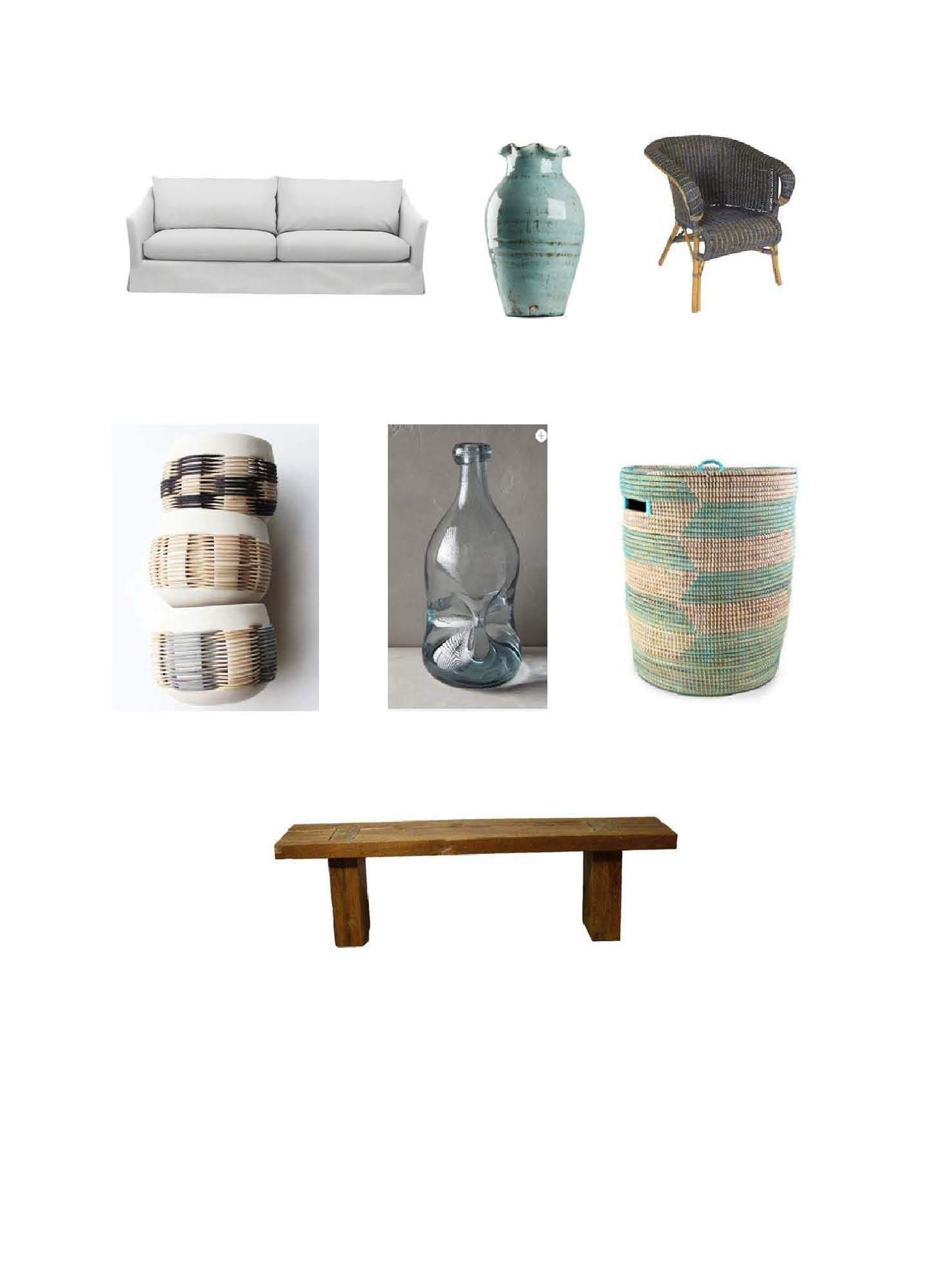 Halsten Sofa : Serena and Lily.  Blue Vase : Layla Grayce,  Wicker and Reed Arm Chair : Chairish,  Pigeon Toe Woven Lanterns : Mille,   Pinched Glass Vase : Antropologie,  Senegalese Sahara Baske t: Mille,  Fillipo Bench:  One Kings Lane