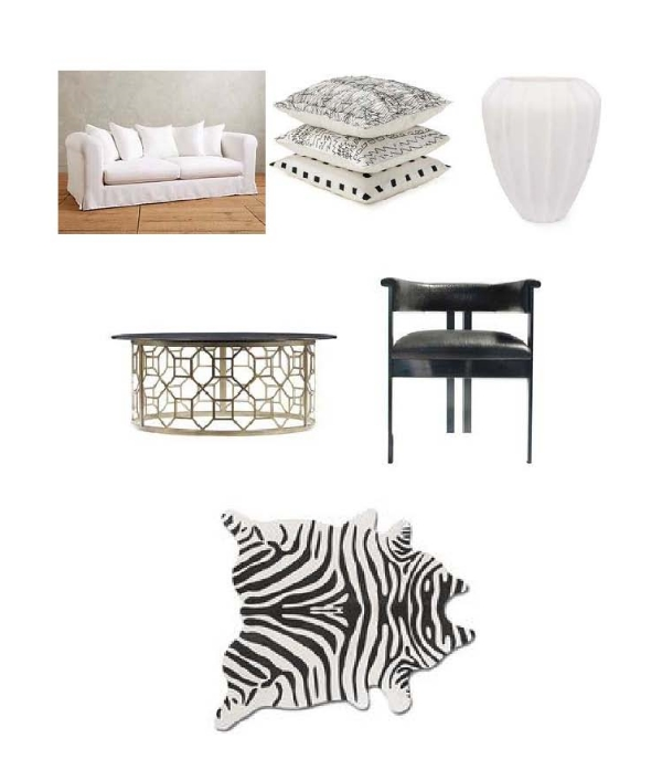 Linen Novalie Sofa : Anthropologie,  Graphic Pillows : Kelly Weastler,  Fluted Marble Vase:  Kelly Weastler,  Avalon Heights  Table: Layla Grayce,  Elliot Chair:  Kelly Weastler,  Zebra Print Rug:  One Kings Lane