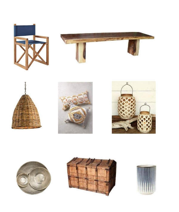 Director Chair:  Serena and Lily,  Vale Dinning Table : One Kings Lane,  Basket Pendan t: Bliss Home,  Pushkar Pillow : Anthropologie,  Sirena Lantern:  Bliss Home,  Palais Silver Bowls : Jayson Home,  Banded Teak Trunk : One Kings Lane,  Blue Stem Cup : Jayson Home