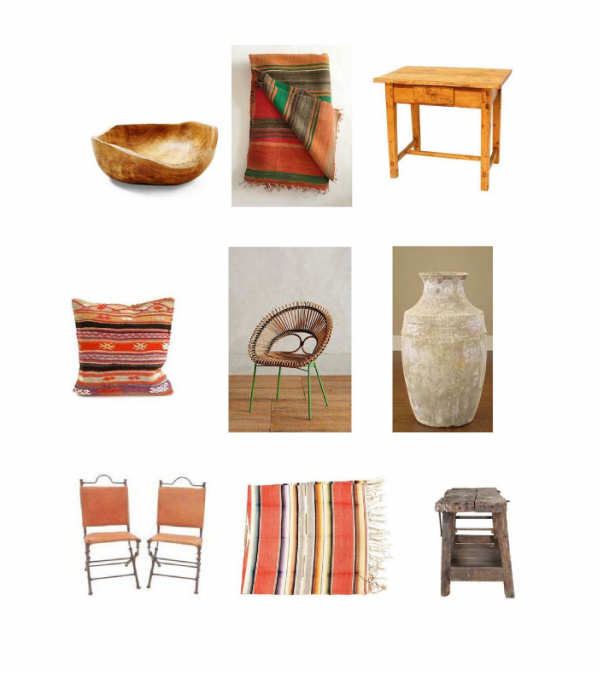 Teak Bowl : One Kings Lane, Vintage  Kilim Rug : Mille  French Country Table :  Chairish, Cicim Kilim Pillow : Loaded Trunk,  Looping Apasra Chair : Anthropologie,  Pharaoh Stoneware  Urn: Bliss Home,  Mexican Leather Chairs : One Kings Lane,  Mexican Serape : One Kings Lane,  Vintage Bench:  Jayson Home