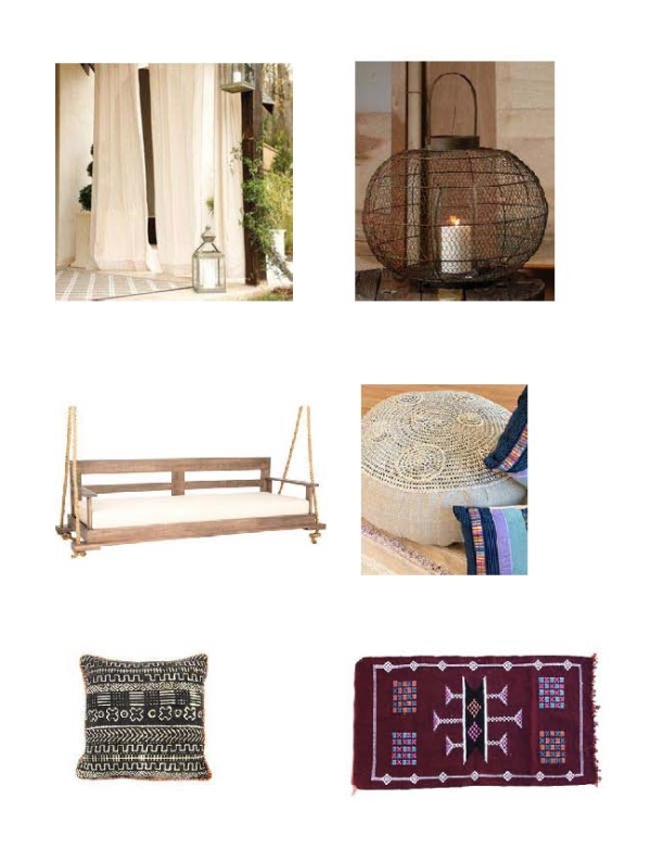 Indoor/Outdoor Sheer Panels : Ballard Design,  Globe Lantern : Bliss Home,  Bed Swing : One Kings Lane,  Up Cycled Pop Top Ottoman : Loaded Trunk,  African Mud Cloth Pillow : Loaded Trunk,  Moroccan Rug:  One Kings Lane
