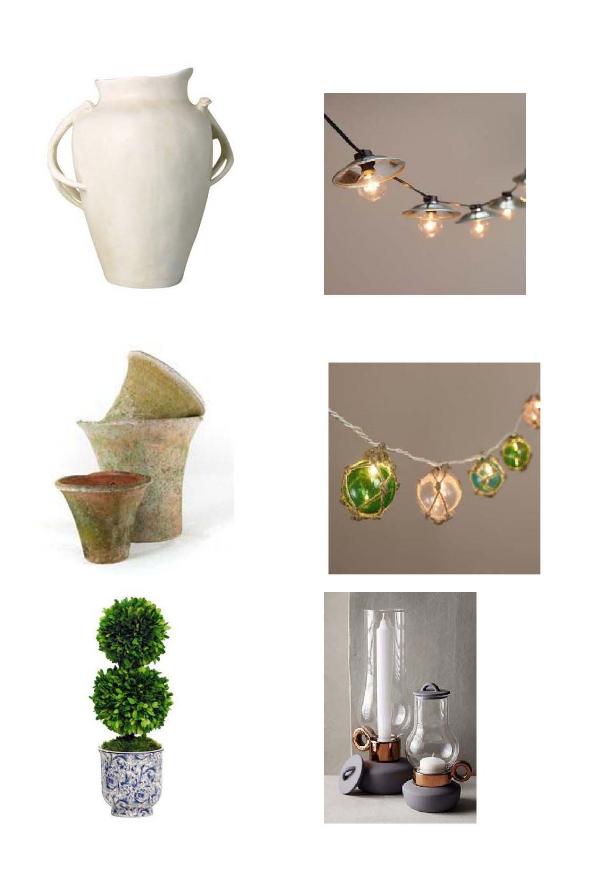 Deer Horn Plante r: One Kings Lane,  Cafe Bulb lights : World Market,  Wall Pots : Botanik,  Twine Wrapped String Light s: World Market,  Ball Boxwood in Planter : One Kings Lane,  Porcelain Lantern : Anthropologie