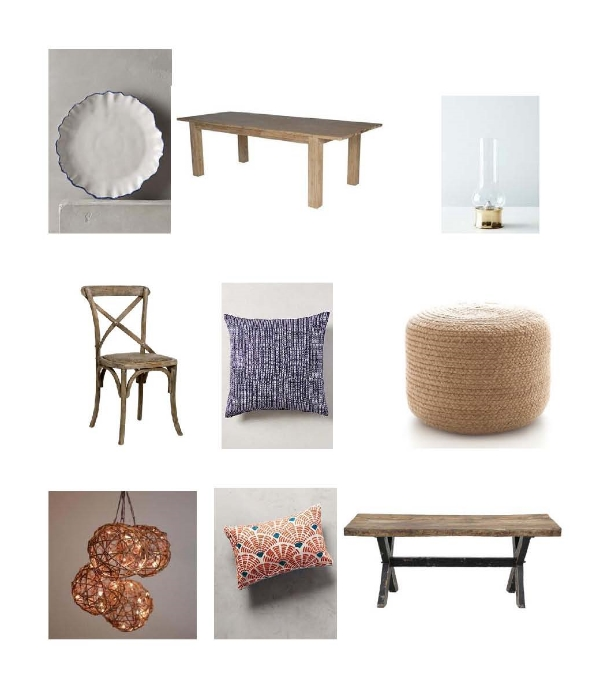 Ruffled Rim Plate : Anthropologie,  Dining Table : One Kings Lane,  Hurrican Lamp : Food52,  Dining Chair : Layla Grace,  John Robshaw Aleppo Pillow : Anthropologie,  Braided Pouf : Dash and Albert,  Rattan Orb LED String Lights : World Market,  Soundwaves Pillow : Anthropologie, A bigail Dining Bench:  One Kings Lane